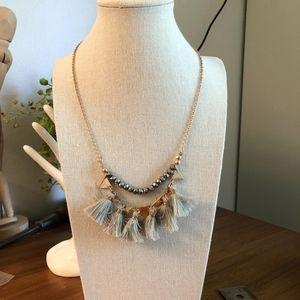 Jewelry - Grey Tassle Necklace Grey Beads Gold tone